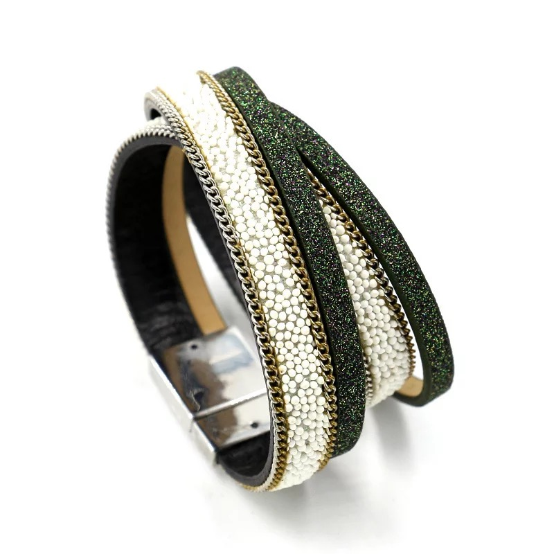 New Unisex Vogue Wrap Cuff Bangle Multilayer Leather Rivet Stud Bracelet Cuff Jewelry & Watches