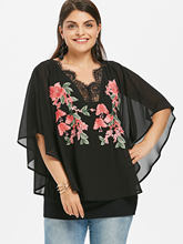 Wipalo Plus Size 5XL Embroidery V Neck Overlay Cape Blouse Women Summer Chiffon V-Neck 3/4 Sleeve Ladies Tops Casual Clothing(China)