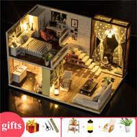 Drewniany duży dom dla lalek nowoczesne miasto loft dzieci zabawki domowe dla lalek diy miniaturowy domek z drewna zestaw meble lampa łóżko zabawki dla dzieci