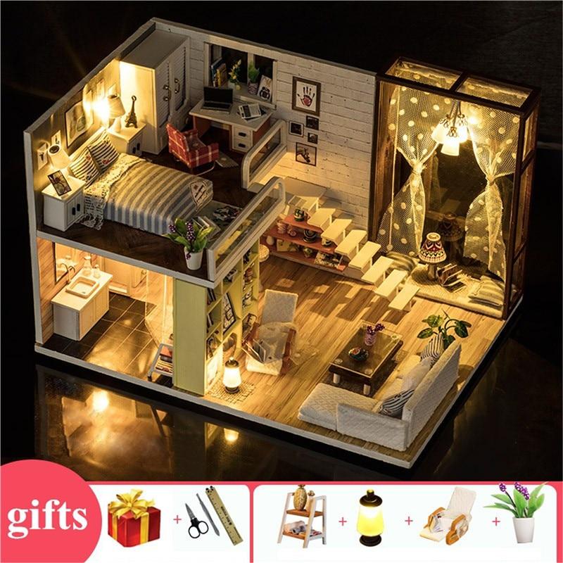 wooden large doll house modern city loft kids home toys diy miniature doll house wood kit furnitures lamp bed zabawki dla dzieci(China)