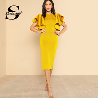 Sheinside Bright Yellow Ruffle Butterfly Sleeve Bodycon Party Dress Women Plain Knee Length Pencil Elegant Autumn Midi Dresses