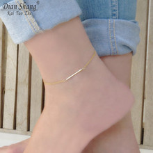 DIANSHANGKAITUOZHE 2017 Gold Silver Bar Anklets Chain Stainless Steel Jewelry Vintage Bijoux Femme Enkelbandje Barefoot Sandals