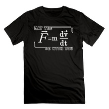 Short Sleeve Round Neck T Shirt PromotionMen's May The (F=mdv/dt) Be With You Funny Physics Science Cotton Short Sleeve T Shirts