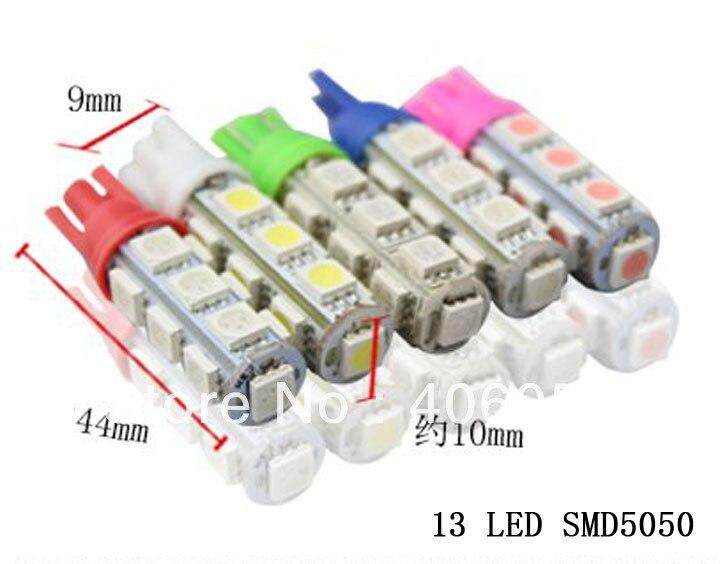 Wholesale - 1000pcs car LED Lamp 12v t10 13 smd 5050 led Light Bulbs t10 led white; Red; Green Blue; Ice blue; Yellow; Pink