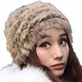 Fluffy Women Russian Cossack Rabbit Fur Knitted Hat Head Ski Cap Winter Warm NEW