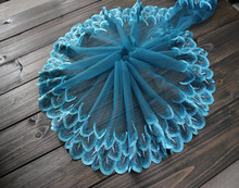 22cm 8.66 (3yards/lot) Embroidered Tulle Lace Trim in Aquamarine+Black+Silver,Mesh Doll ,Dress Fabic