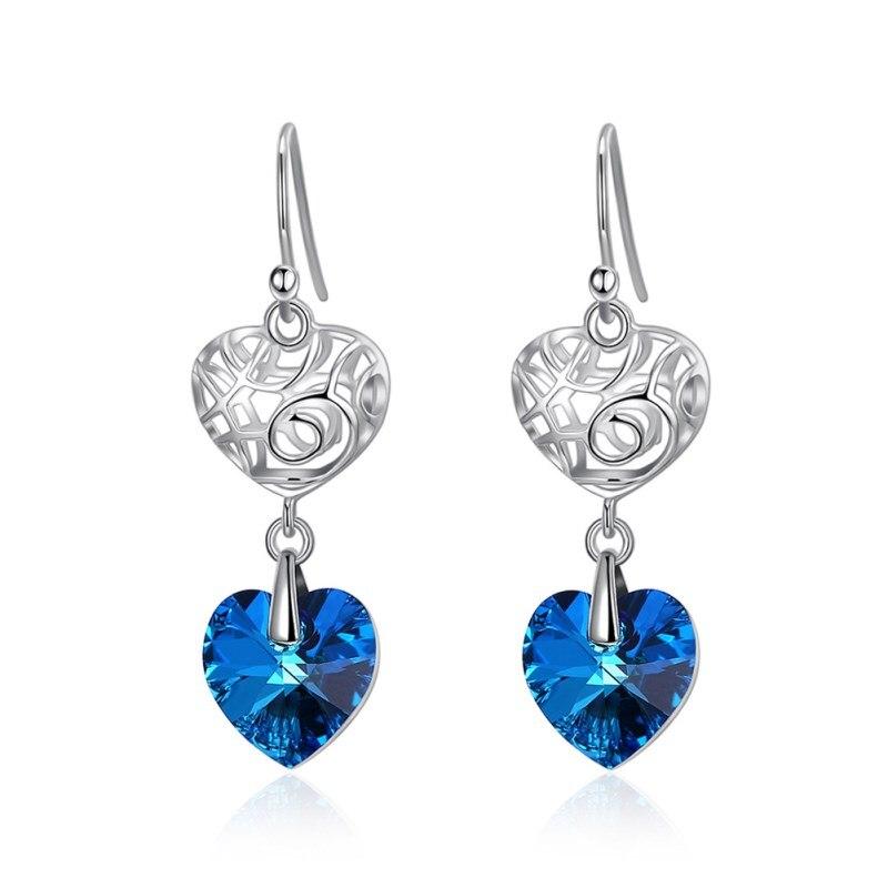 9e26f2e9cb00 ENDELI 2019 venta joyería de moda europea simple corazón largo pendiente  cristal de Swarovski ...