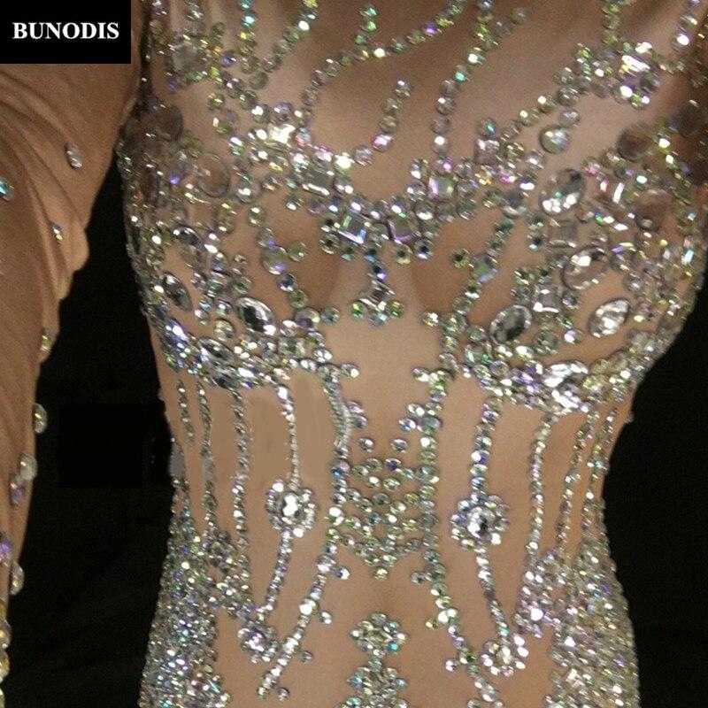 Sexy Chanteur Pierres Usage Salopette Performance Body Zentai Mousseux Costume Femmes D'étape Zd052 Blanc Nightclub Cristaux wfHYYz