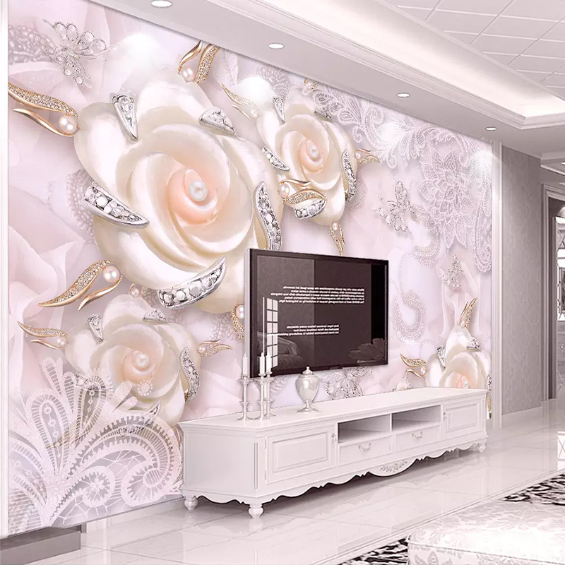 Custom Photo Wallpaper For Walls 3D Pink Flower Jewelry