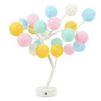 LED Cotton Ball Bonsai Tree Desk Light Night lamp for Home Coffee Wedding House Decoration