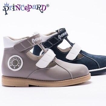 9622d57f1 Princepard 2018New verano ortopédicos sandalias para niños de cuero genuino de  microfibra Zapatos gris azul marino zapatos de cuero de cerdo de la  plantilla