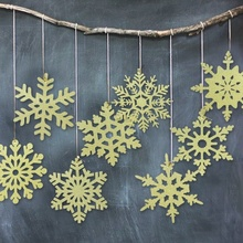 Pack of 8 Gold Winter Snowflake Decorations for Christmas Wedding Table Scatter Wall Hanging Decor