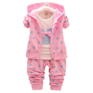 Image 2 - 2020 New Childrens suit girl Minnie suit autumn and winter childrens clothing suit / Hooded Jacket+T shirt+trousers /3pcs