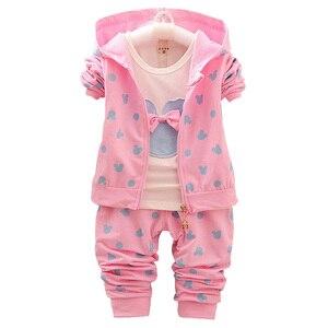 Image 2 - Terno infantil menina minnie, camiseta e jaqueta com capuz roupas infantis outono inverno 2020 + calças/3 peças