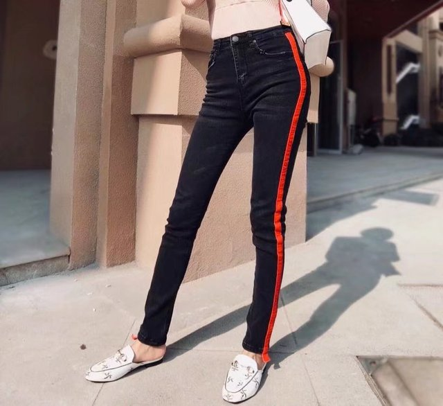 786ba60cbda17 Women Black jeans Cotton Elastic High Waist Pants Slim Casual Ladies skinny  Full Length Trousers Side stripe wash Pencil pants