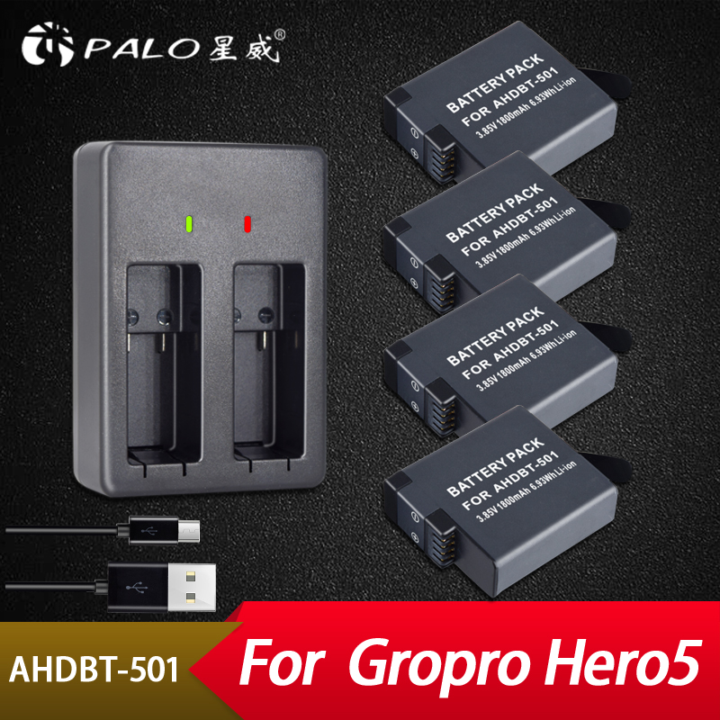 Palo 4 pièces 1800 mAh Batteries pour GoPro Hero 5 Gopro 6 Batterie D'action Caméra AHDBT-501 + Chargeur De Batterie USB