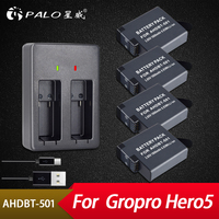 Palo 4Pcs 1800mAh Batteries for GoPro Hero 5 Gopro 6 Action Camera Battery AHDBT 501+ USB Battery Charger