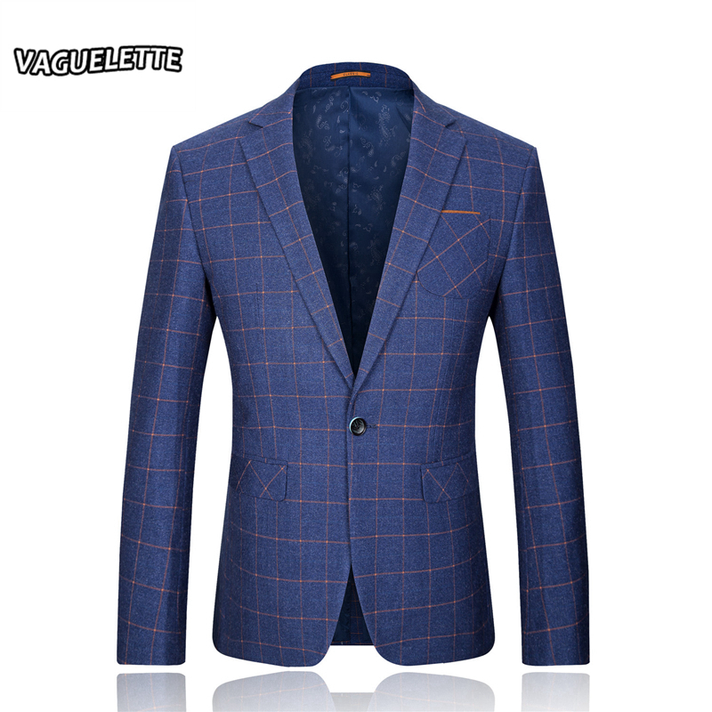 Luxury Royal Blue Plaid Blazer Jacket Formal Business Skinny Men Suit Jacket Wedding Groom Classic Slim Fit Blazer Homme M-3XL