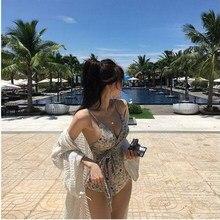 02113e01710ed Swimwear Women One Piece Leopard Swimsuit Lady Sexy Push Up Bathing Suit  Bandage Bikini Mayo Swimsuit Fused Beach Dress Korean