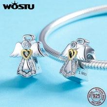 Wostu Hoge Kwaliteit Echt 925 Sterling Zilveren Beschermengel Kralen Fit Originele Merk Charm Armband Diy Sieraden Geluk Gift BKC747