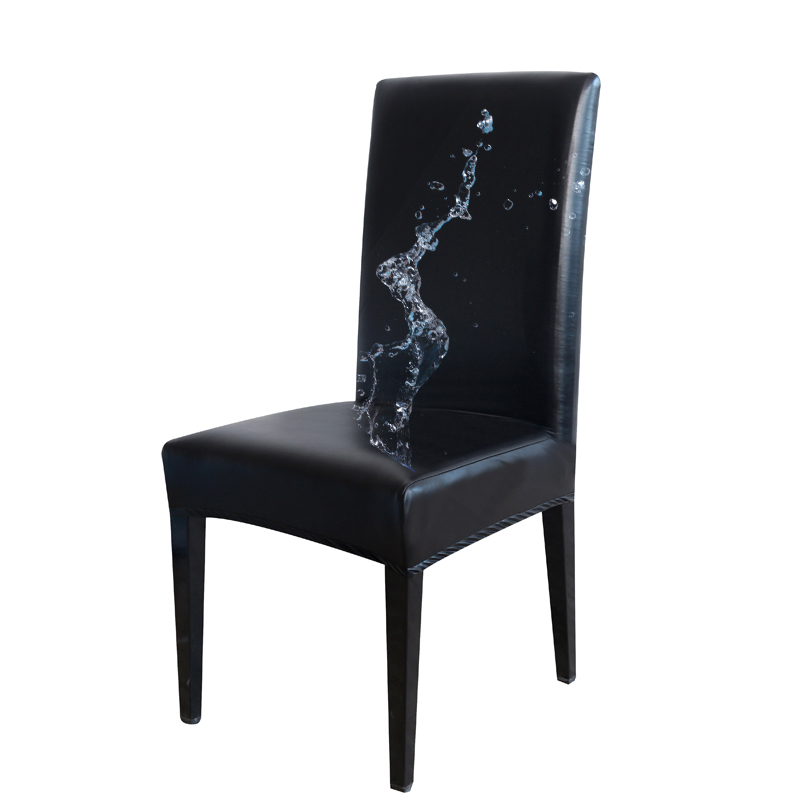 PU Leather Fabric Solid Color Chair Cover Waterproof Dining Seat Chair Covers Hotel Banquet Wedding Seat Covers Chair Protector