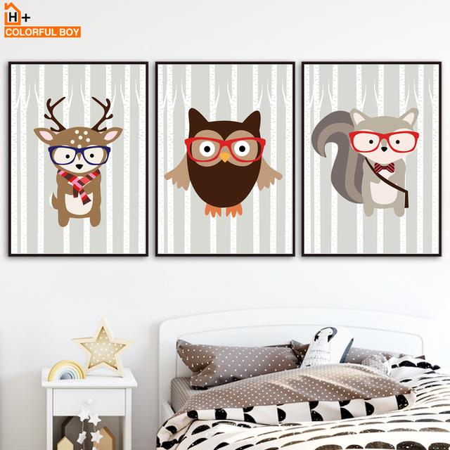 Colorfulboy deer fox owl wall art canvas painting posters and prints cartoon animals wall pictures nordic