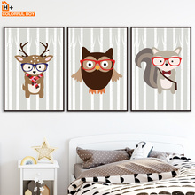 Deer Fox Owl Wall Art Canvas Painting Nordic Posters And Prints Cartoon Animals Canvas Art Wall Pictures Baby Kids Room Decor цена и фото