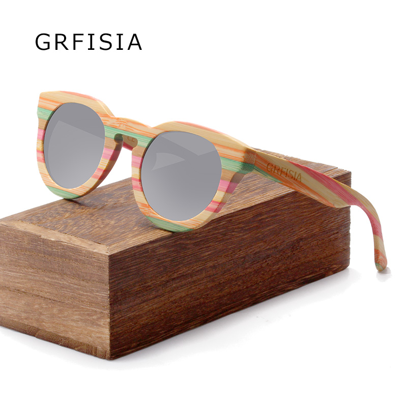 buying new low priced best cheap GRFISIA New Style Round Color Bamboo sunglasses Brands ...