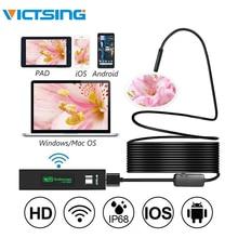 VicTsing 5 متر 8 ملليمتر المنظار كاميرا WiFi Borescope IP68 للماء 8 LED التفتيش كاميرا 1600*1200 HD كاميرا ل فون الروبوت