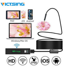 VicTsing 5m 8mm Endoscope Camera WiFi Borescope IP68 Waterproof 8 LED Inspection Camera 1600*1200 HD Camera for iPhone Android