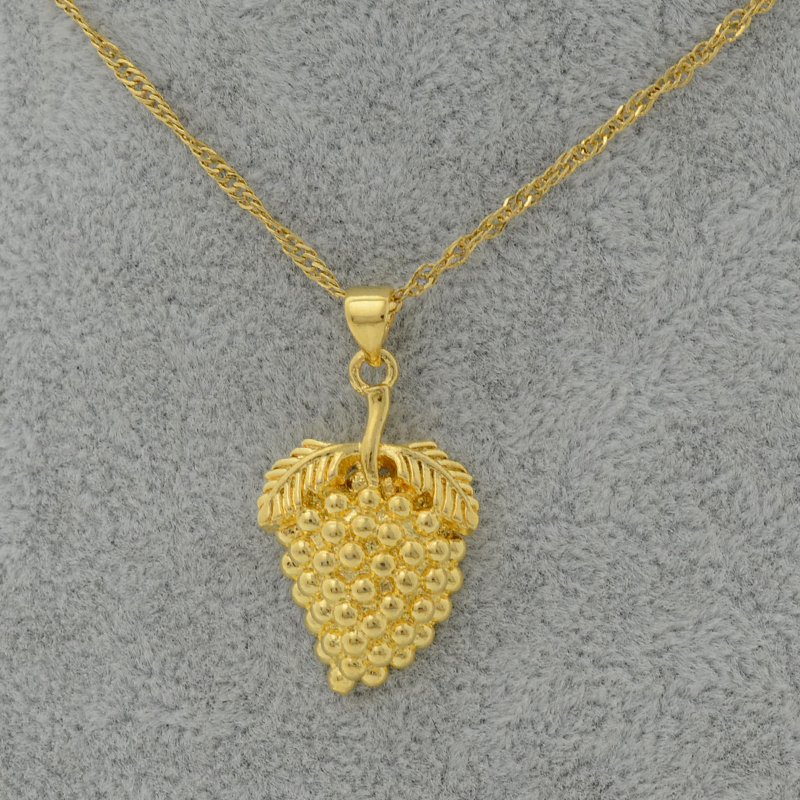 Anniyo Gold Color Grape Pendant & Necklace Chain Woman,Plant Fruit ...