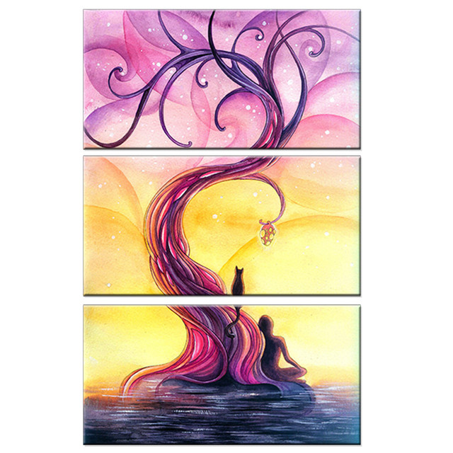 Canvas HD Prints Pictures Wall Art Poster 3 Piece Purple Tree Flower ...