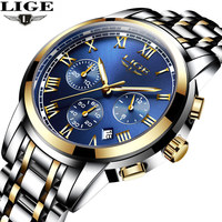 2017 New Watches Men Luxury Brand LIGE Chronograph Men Sports Watches Waterproof Full Steel Quartz Men