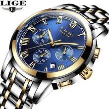 2017 Nuevos Relojes de Marca de Lujo LIGE Cronógrafo Hombres Deportes Relojes Reloj de Acero Completo Impermeable Cuarzo de Los Hombres Relogio masculino