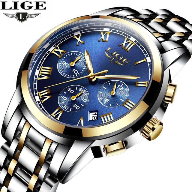 Новинка 2017 года Часы Для мужчин Элитный бренд lige хронограф Для мужчин Спортивные часы Водонепроницаемый полный Сталь кварцевые Для мужчин смотреть Relogio Masculino