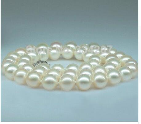 Women Gift Freshwater Jewelry Genuine Natural NATURAL AAA+ AKOYA 10-11MM WHITE PEARL NECKLACEWomen Gift Freshwater Jewelry Genuine Natural NATURAL AAA+ AKOYA 10-11MM WHITE PEARL NECKLACE