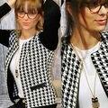 Женщины Хаундстут Отпечатано Пальто Куртки С Длинным Рукавом Кардиган Короткие Пиджаки