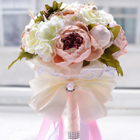 31 24CM Vintage Rose Flower Silk Crystal Bling Pearl Brooch Peony Bride Bouquet With Lace Ribbon