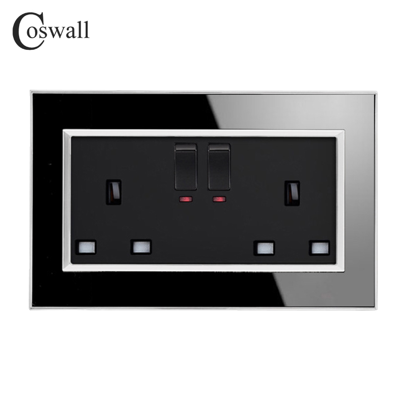 Coswall 146 Type 13A UK Standard Switched Socket With Neon Luxury Wall Power Outlet Acrylic Crystal Mirror Panel