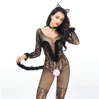 JSY catwomen bodystocking crotch Fetish transparent bodysuits with long tail fancy catsuit Women sexy underwear 6920