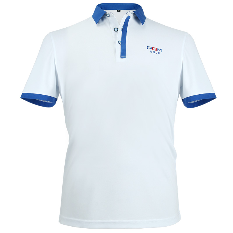 Golf Apparel Mens Short Sleeved Polo Shirt Summer Breathable Dry Fit Running Sport Shirts (White)