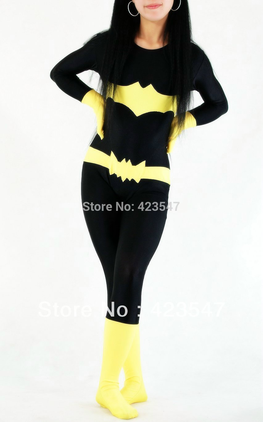 DC Comics Black & Yellow Batman Spandex Superhero Costume Halloween Party Costumes