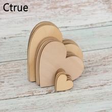 30PC 3cm 8cm 10cm Rustic Wedding Centerpieces Love Wooden Heart Confetti Scrapbooking Hobby DIY Craft Photo Props