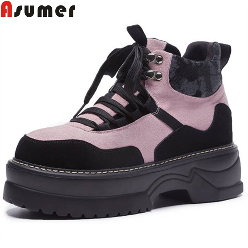 ASUMER big size 35-42 fashion ankle boots for women round toe platform suede leather boots lace up motorcycle boots 2018 new round toe suede lace up mens boots