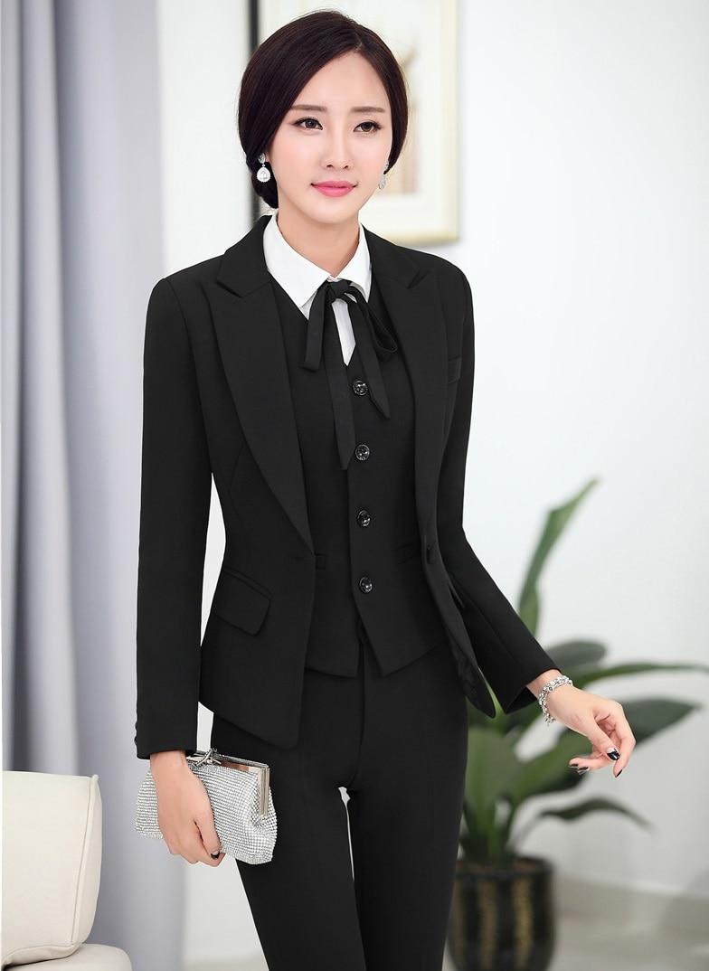 2016 Professional Formal Pantsuits Ladies Business Women Suits 3 Pieces With Jackets + Pants + Vest Female Trousers Sets OL