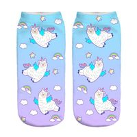 Flying Llama New Hot Women Hosiery Printing Socks Girl Funny Meias Low Cut Ankle Sock Calcetines Christmas Gift Socks
