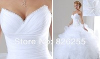 In Stock Free Shipping 2014 Popular White Ivory Sweetheart Beaded Neckline Organza Cheap Wedding Dresses Gowns