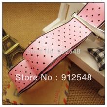 free shipping,1″(25mm) width,Handmade diy hair accessory material ribbon polka dot ribbon pink ribbon hbyd003