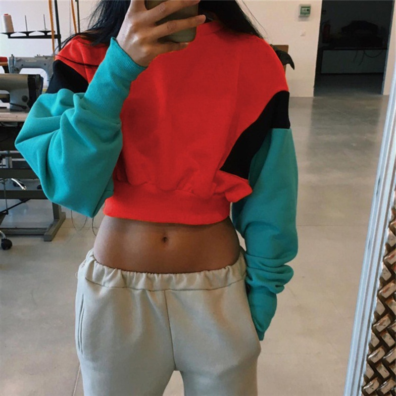 Autumn And Winter Patchwork Hoodies Women Sweatshirt Round Neck Long Sleeve Jacket Harajuku Crop Top Moletom Tumblr Ez*