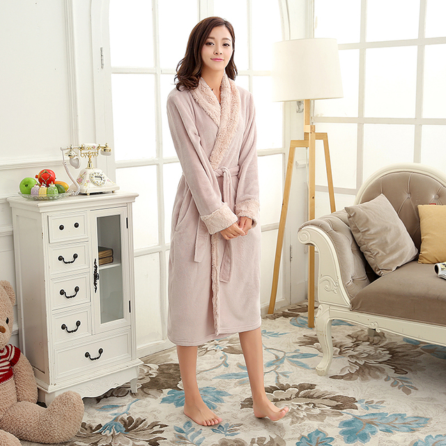 Women Luxury Fur Silk Soft Flannel Long Kimono Bath Robe Femme Winter Warm  Bathrobe Bride Dressing Gown Bridesmaid Robes Wedding 2591d2810